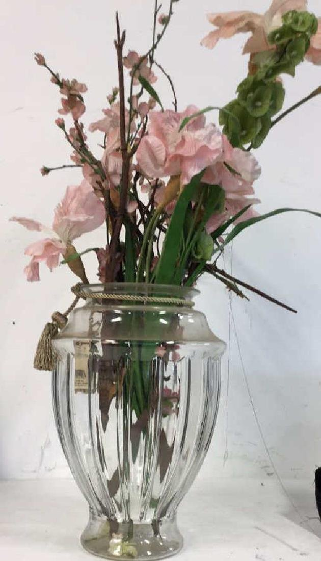 Large Shaped Glass Vase w Faux Blossoms - 2