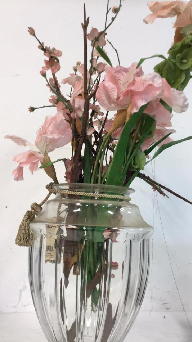 Large Shaped Glass Vase w Faux Blossoms - 3