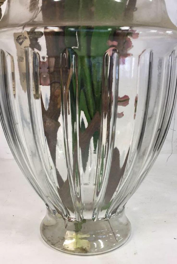 Large Shaped Glass Vase w Faux Blossoms - 4
