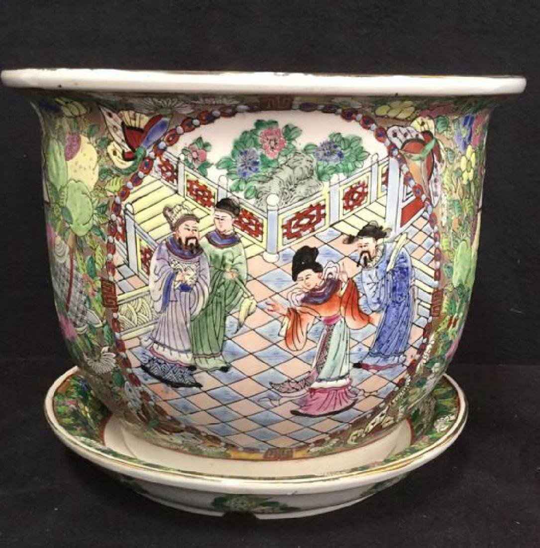 Lot 2 Painted Enamel Asian Planter And Coaster