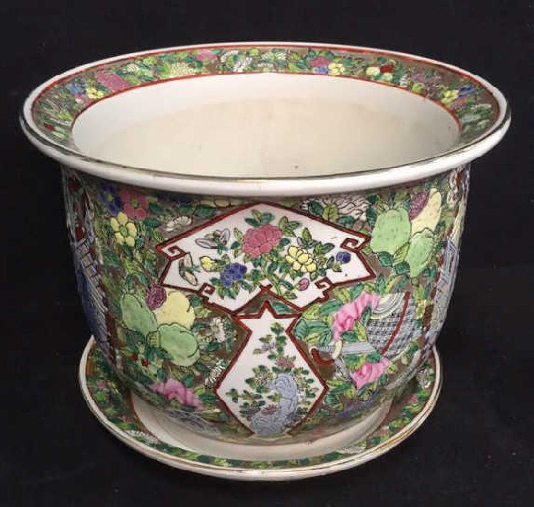 Lot 2 Painted Enamel Asian Planter And Coaster - 4