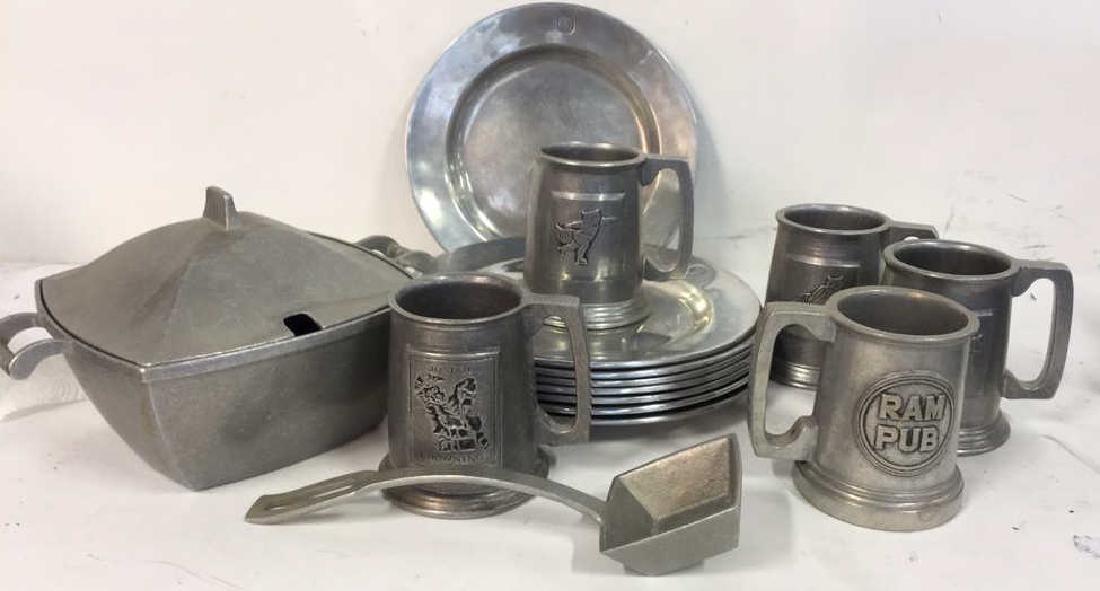 Grp Lot Metalware Pewter Plates, Mugs Tureen Spoon