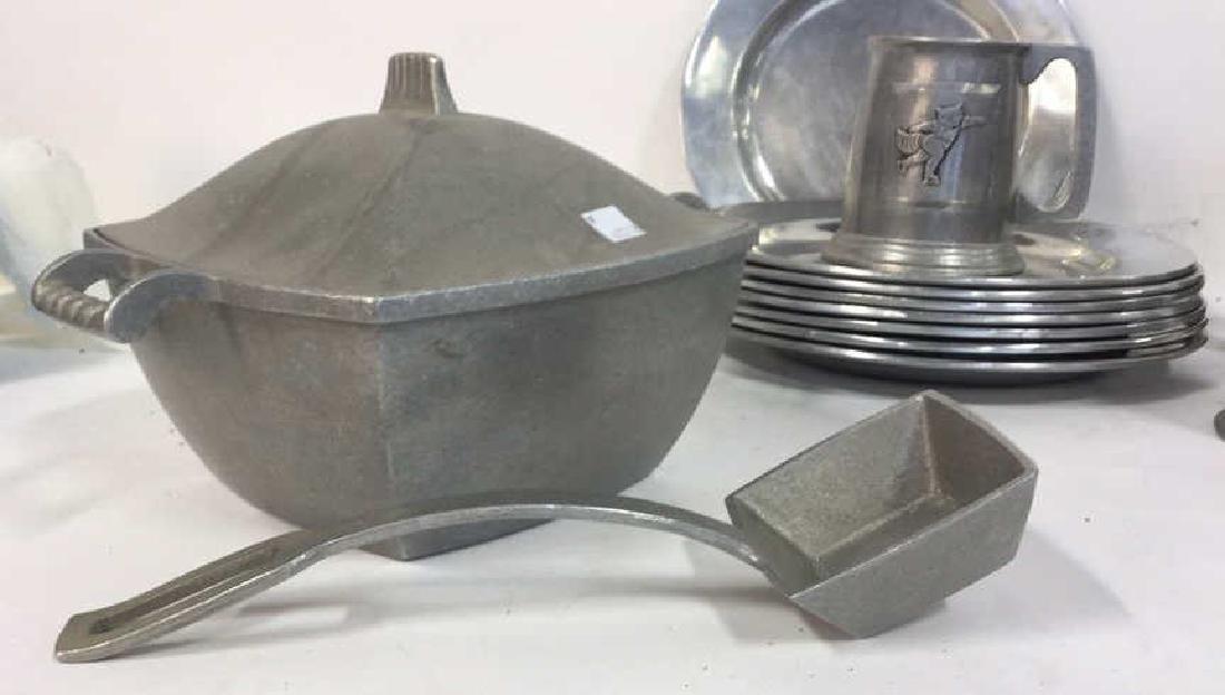 Grp Lot Metalware Pewter Plates, Mugs Tureen Spoon - 6