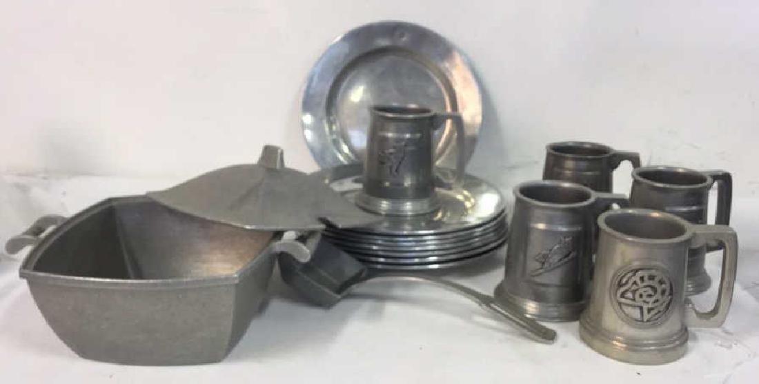Grp Lot Metalware Pewter Plates, Mugs Tureen Spoon - 7