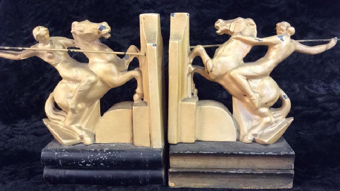 Pair Warriors on Horseback Metal Bookends