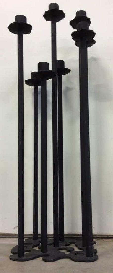 Contemporary Standing Metal Floor Candelabra - 4