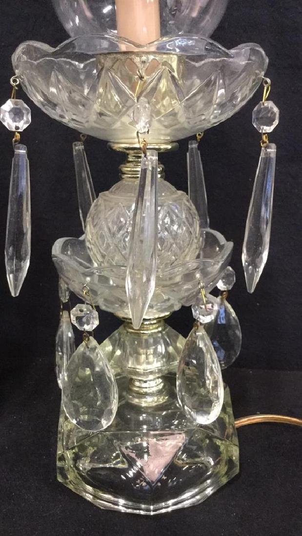 Pair Of Cut Glass Tiered Hurricane Table Lamps - 2