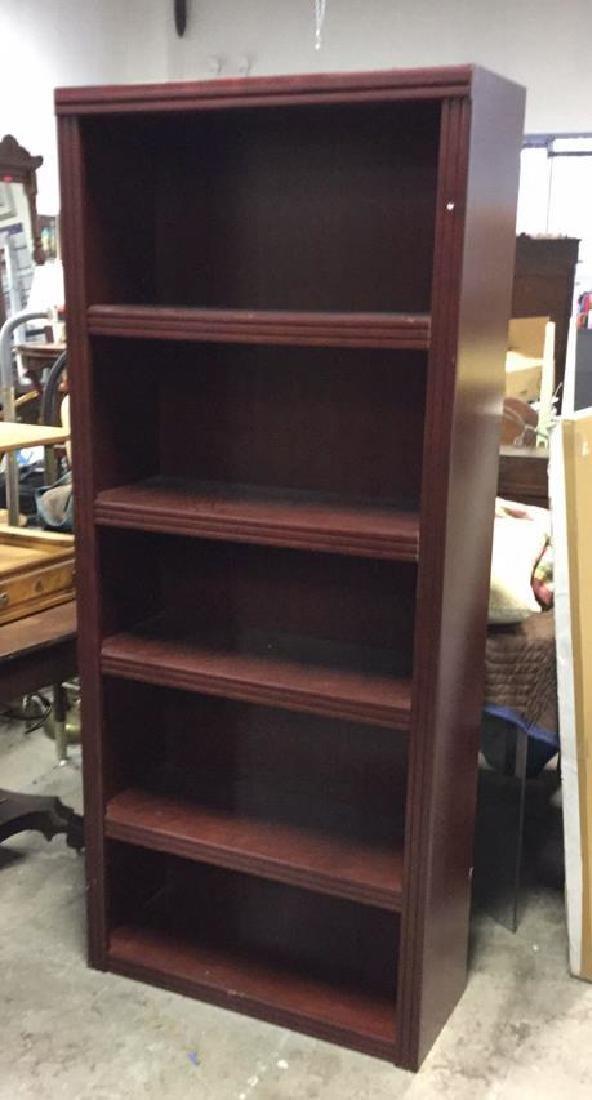 Mahogany Toned Wood Bookshelf - 2