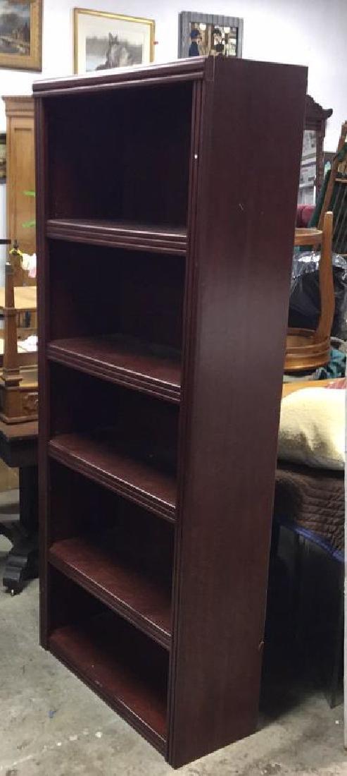Mahogany Toned Wood Bookshelf - 3