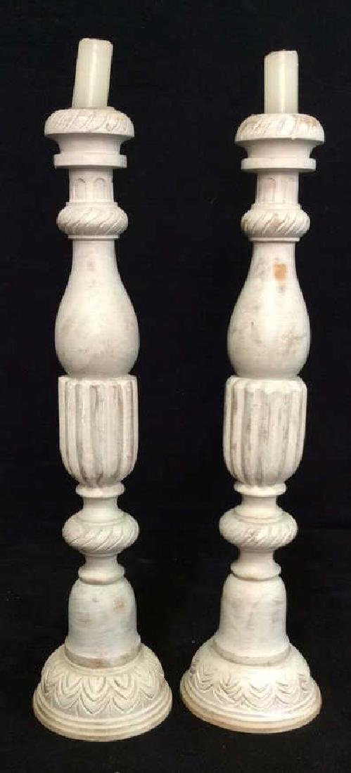Pair Gray Washed Wood Carved Candlesticks