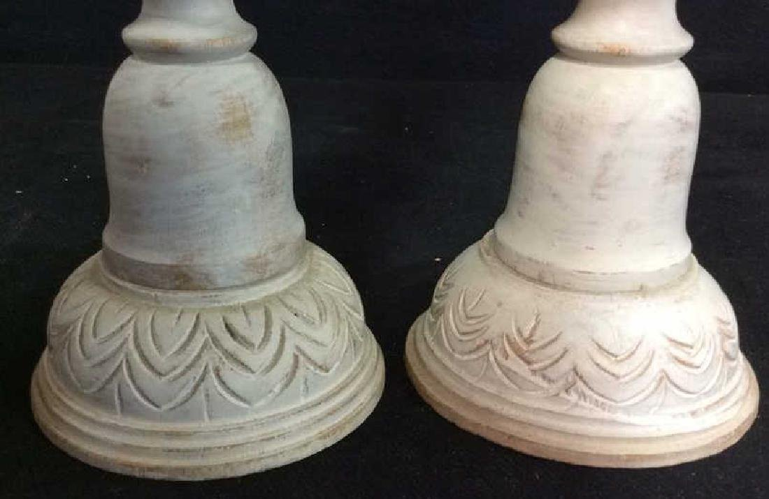 Pair Gray Washed Wood Carved Candlesticks - 2