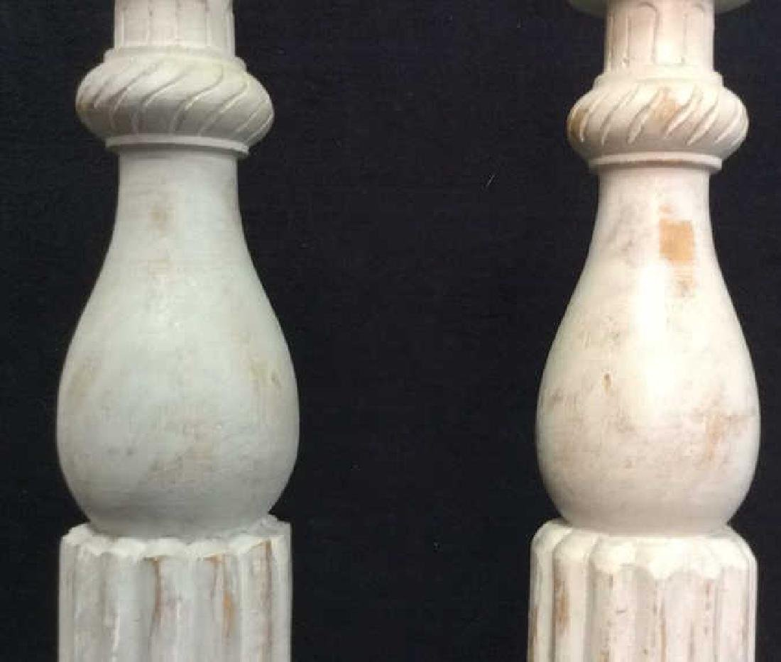 Pair Gray Washed Wood Carved Candlesticks - 4