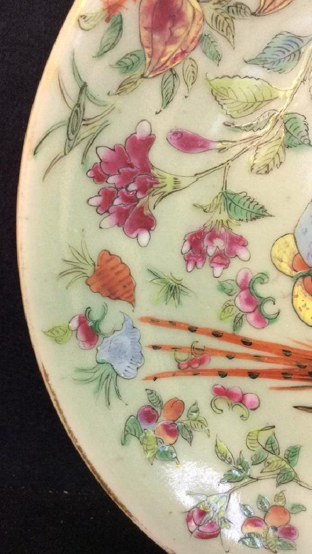 Signed Asian Hand Painted Glass Textured Ceramic - 7
