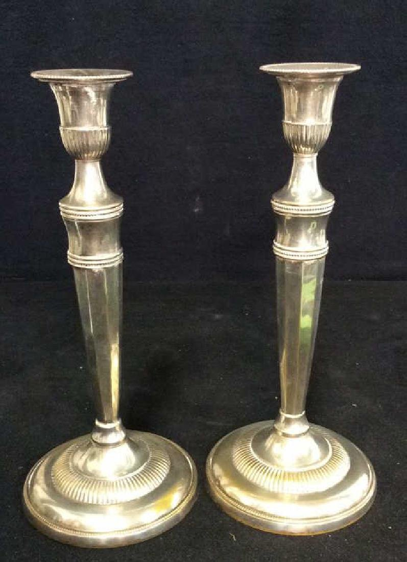 Weighted Pair Silver Plate Faceted Candlesticks