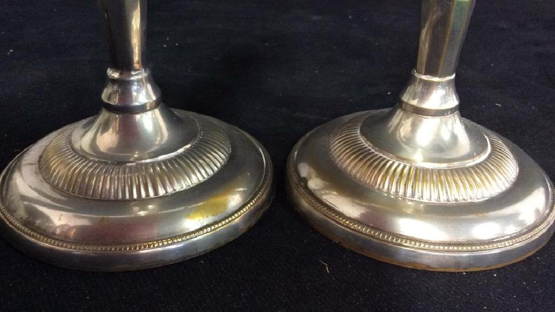 Weighted Pair Silver Plate Faceted Candlesticks - 2