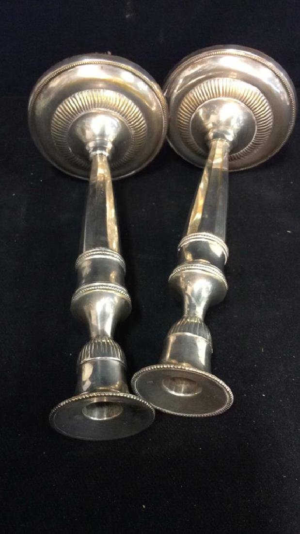 Weighted Pair Silver Plate Faceted Candlesticks - 7