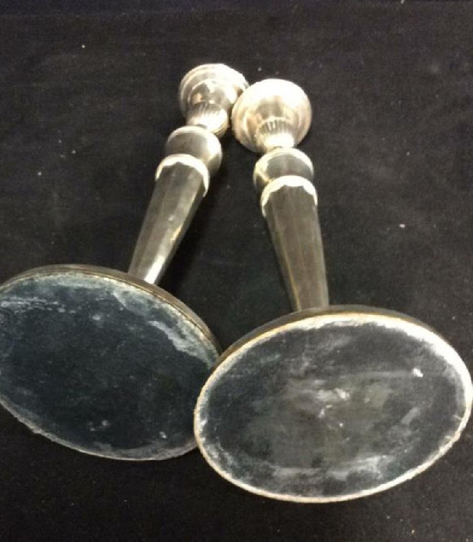 Weighted Pair Silver Plate Faceted Candlesticks - 8