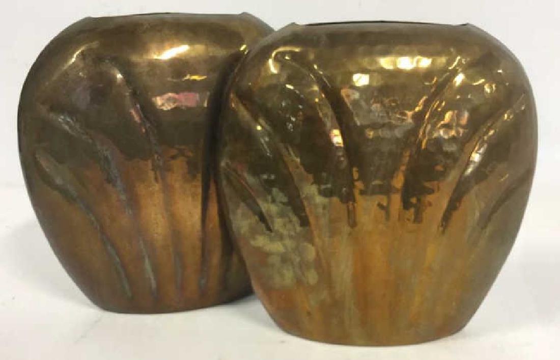 Pair Hand Hammered Brass Vases