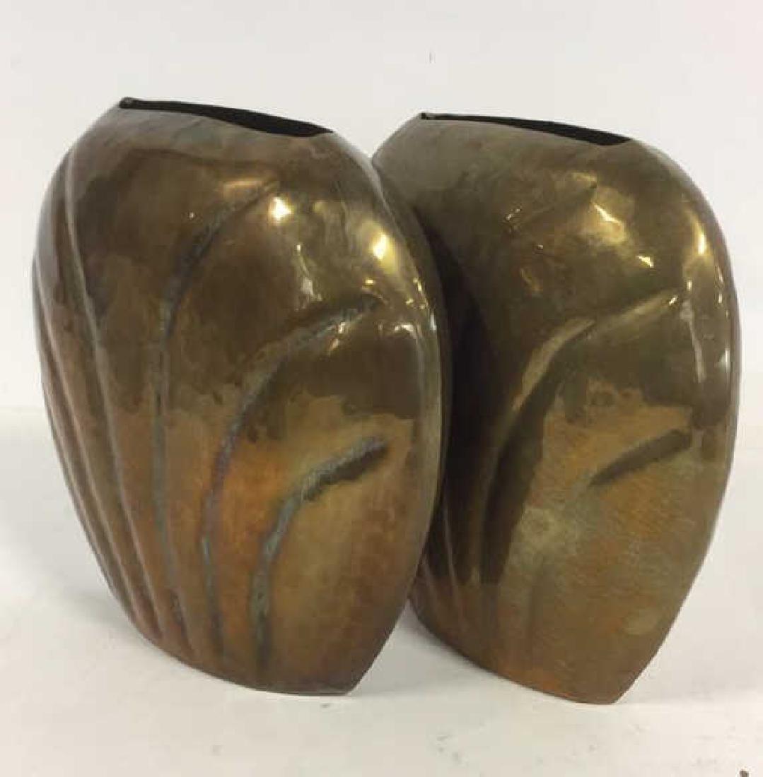 Pair Hand Hammered Brass Vases - 4