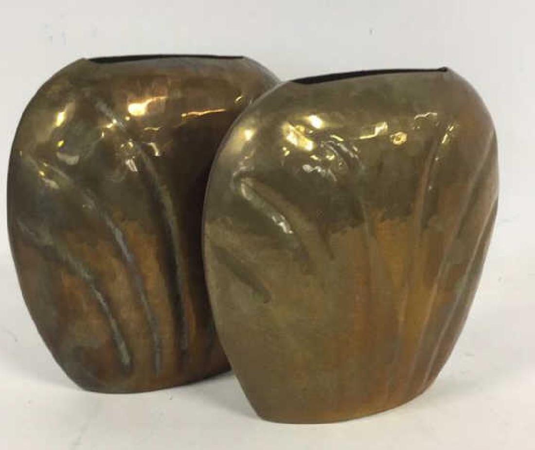 Pair Hand Hammered Brass Vases - 5