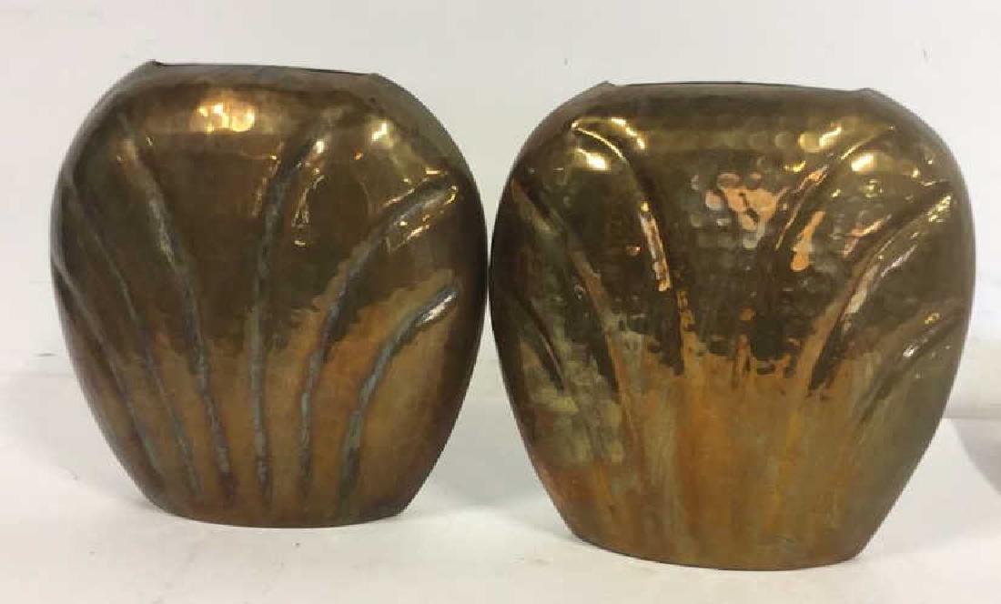 Pair Hand Hammered Brass Vases - 6