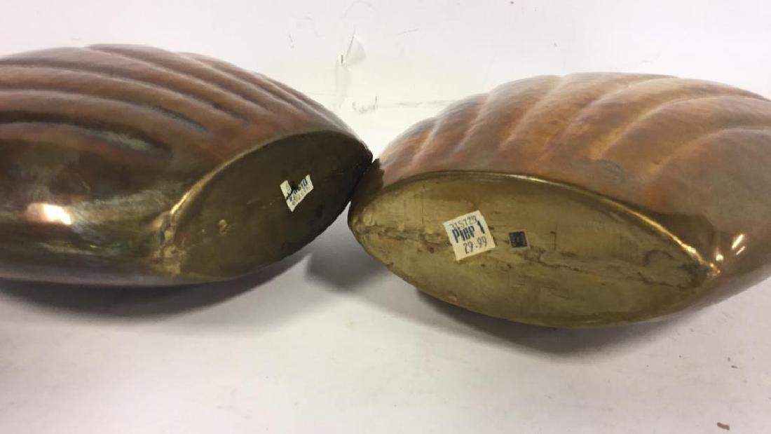 Pair Hand Hammered Brass Vases - 7