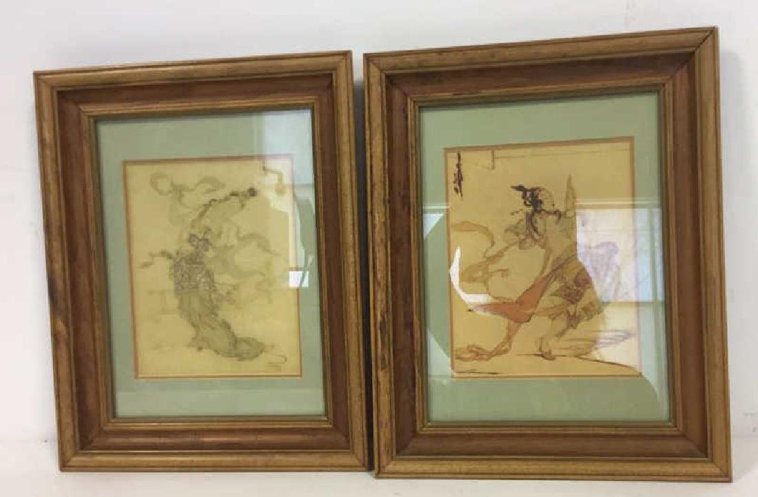 Pair Art Prints  Asian Figurals Framed