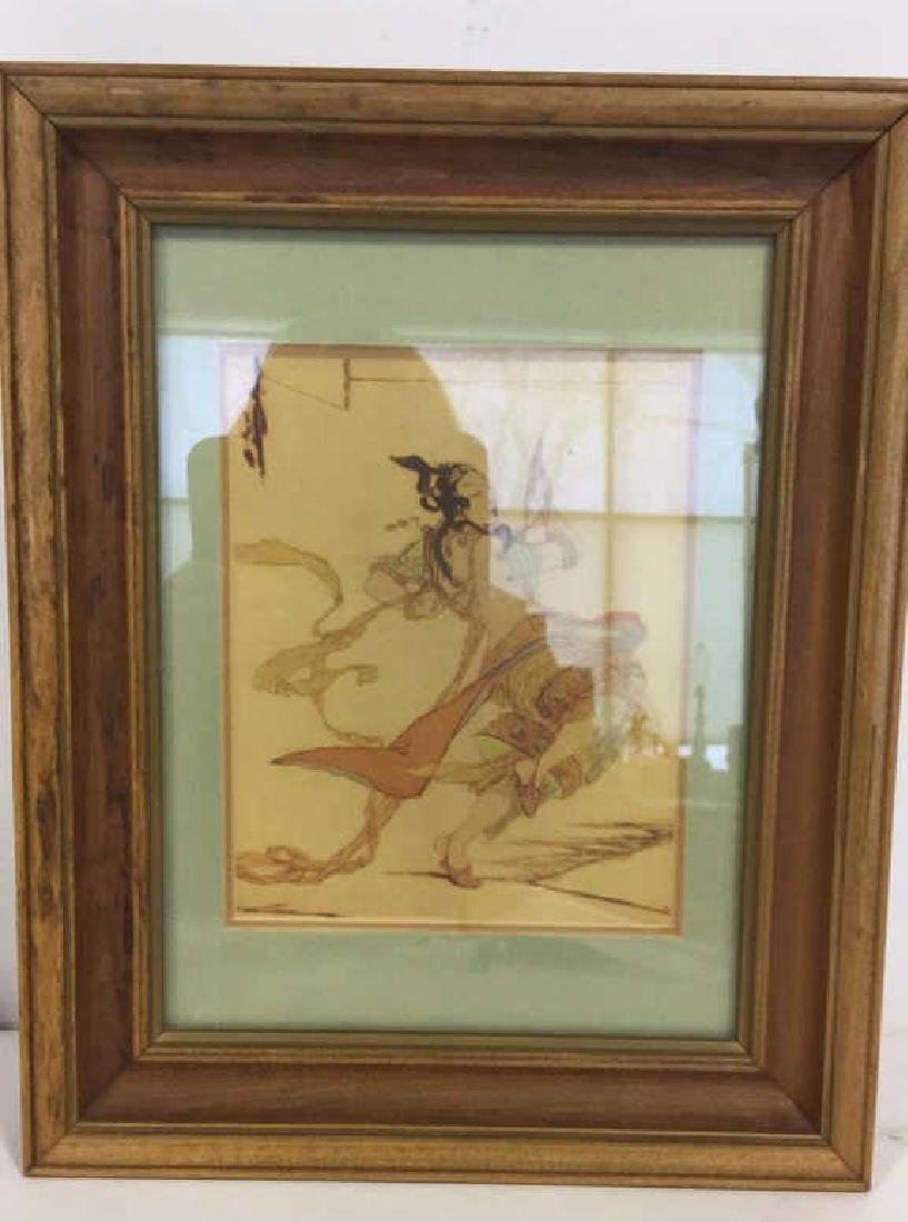 Pair Art Prints  Asian Figurals Framed - 3