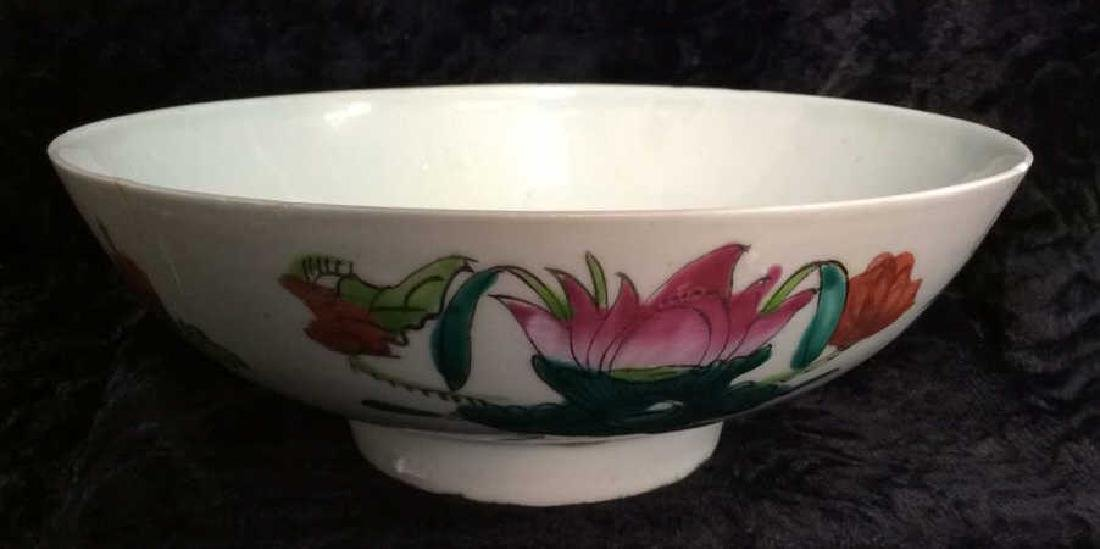 Vintage Oriental Stoneware Ceramic Floral Bowl - 2