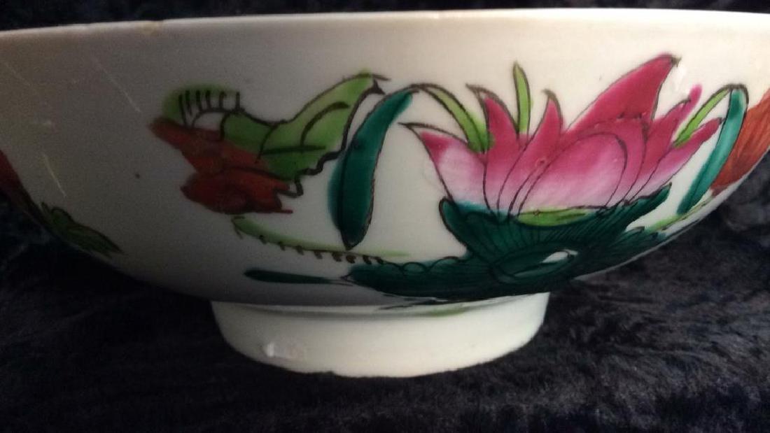 Vintage Oriental Stoneware Ceramic Floral Bowl - 3