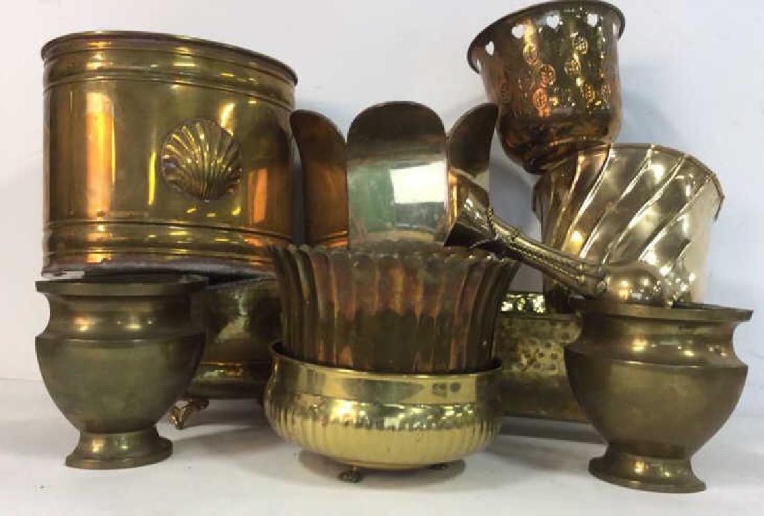 Group Lot Brass Planter Vase Jamboree