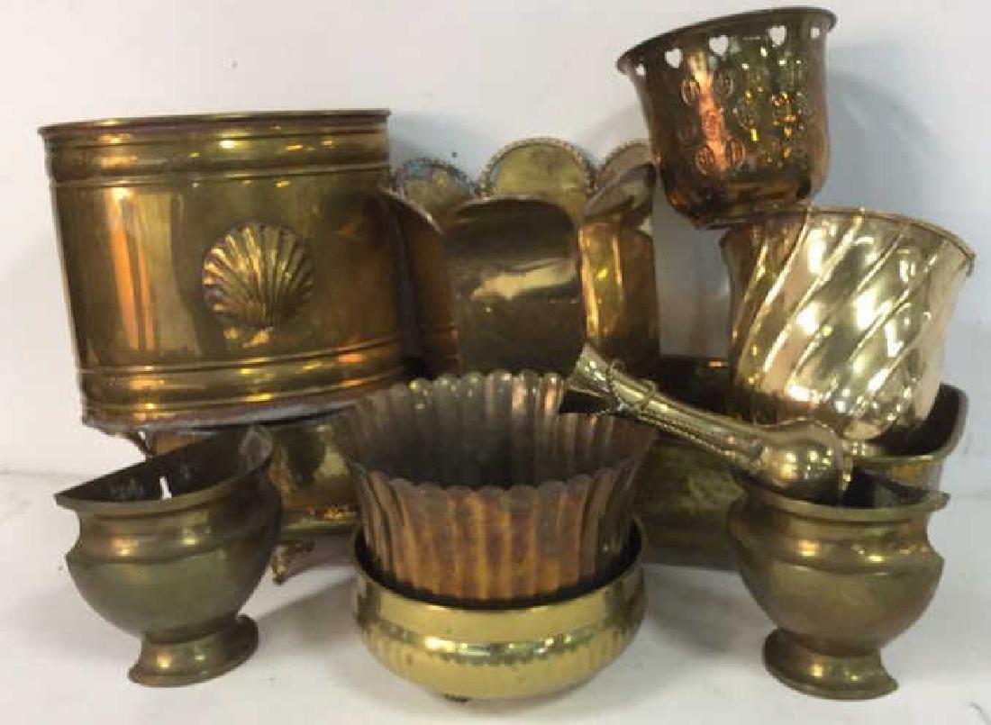 Group Lot Brass Planter Vase Jamboree - 2