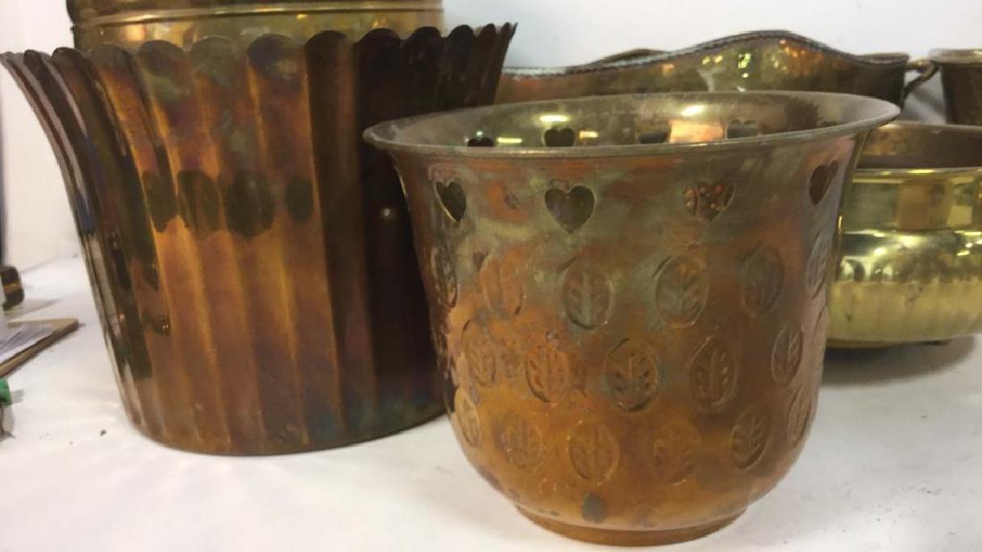 Group Lot Brass Planter Vase Jamboree - 3