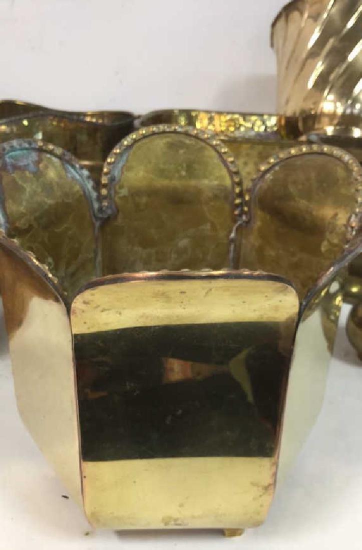 Group Lot Brass Planter Vase Jamboree - 5