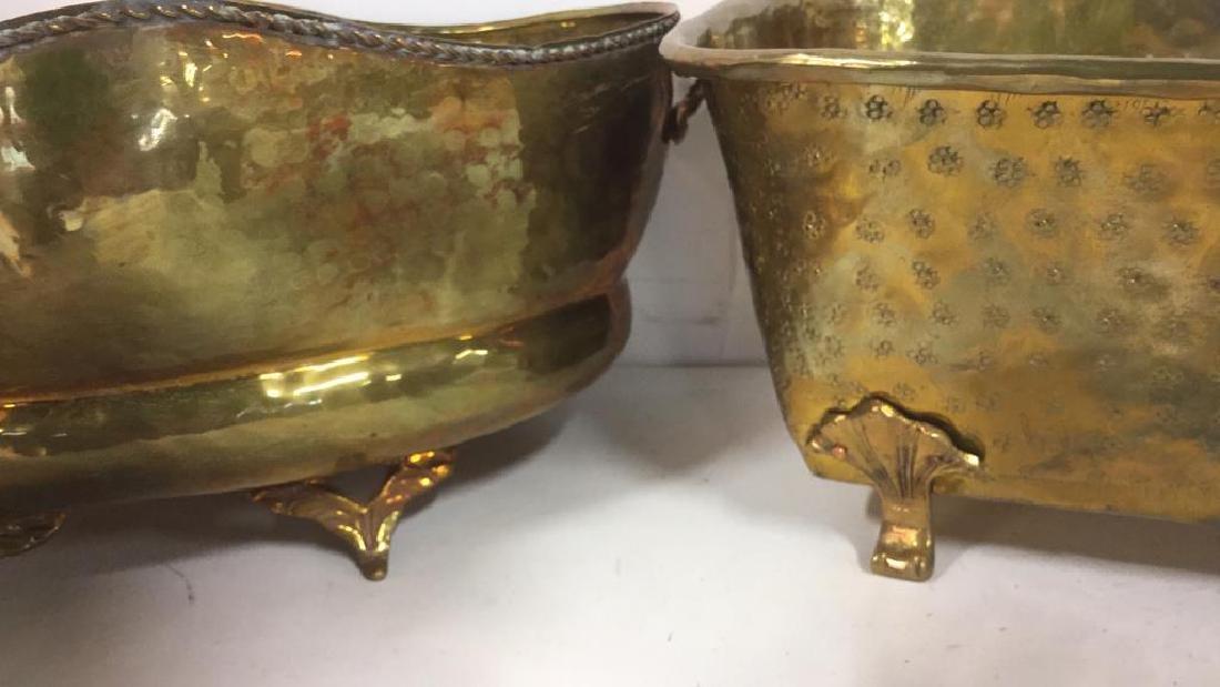 Group Lot Brass Planter Vase Jamboree - 7