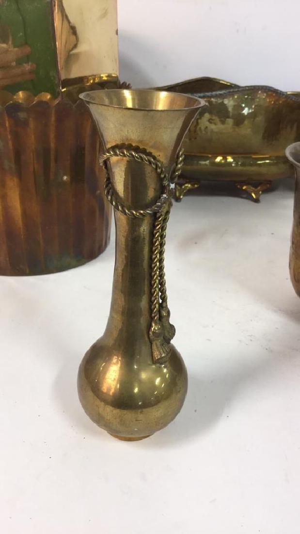 Group Lot Brass Planter Vase Jamboree - 8