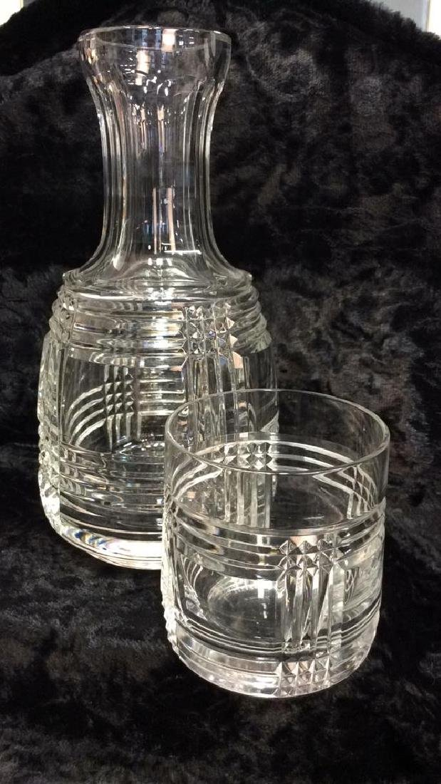 Pair Glass Crystal Decanter W Drinking Glass - 5