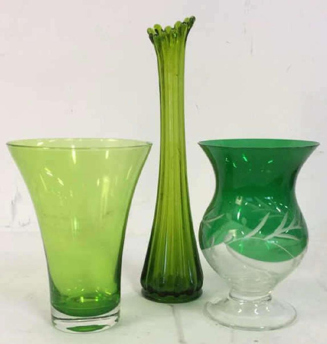 Green Toned Glass & Crystal Tabletop Accessories