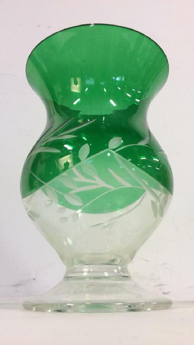 Green Toned Glass & Crystal Tabletop Accessories - 5