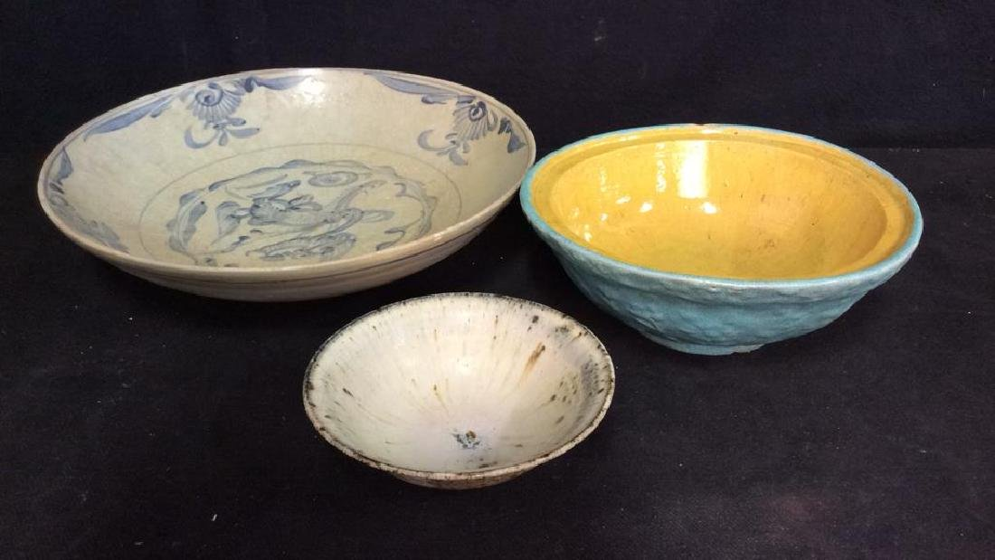 Lot 3 Vintage Assorted Stoneware Bowls