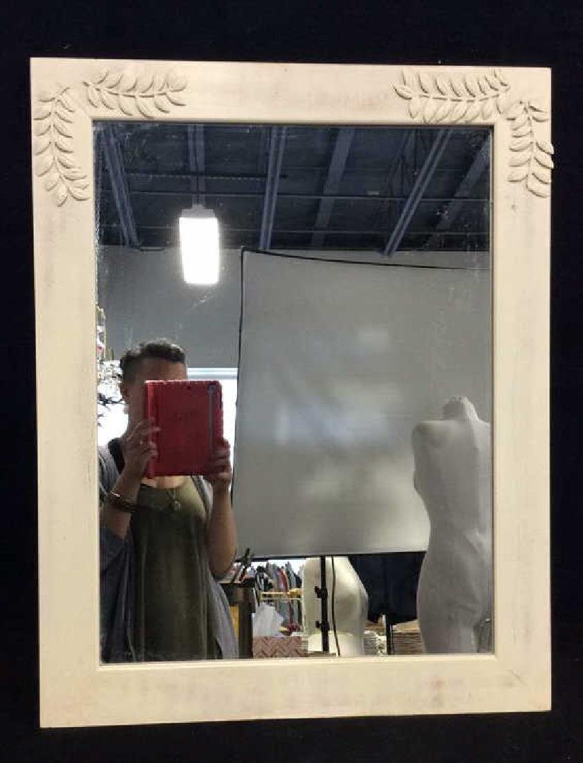 White Toned Painted Wood Frame Mirror