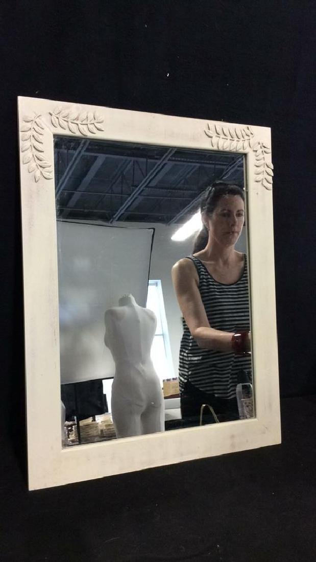White Toned Painted Wood Frame Mirror - 2
