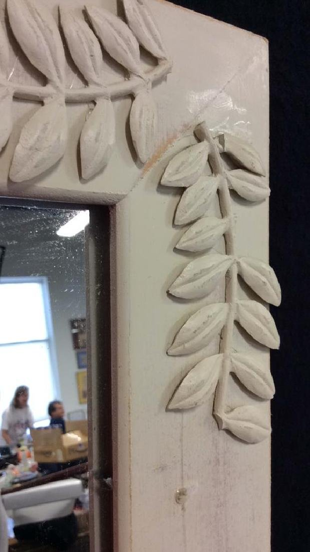 White Toned Painted Wood Frame Mirror - 5