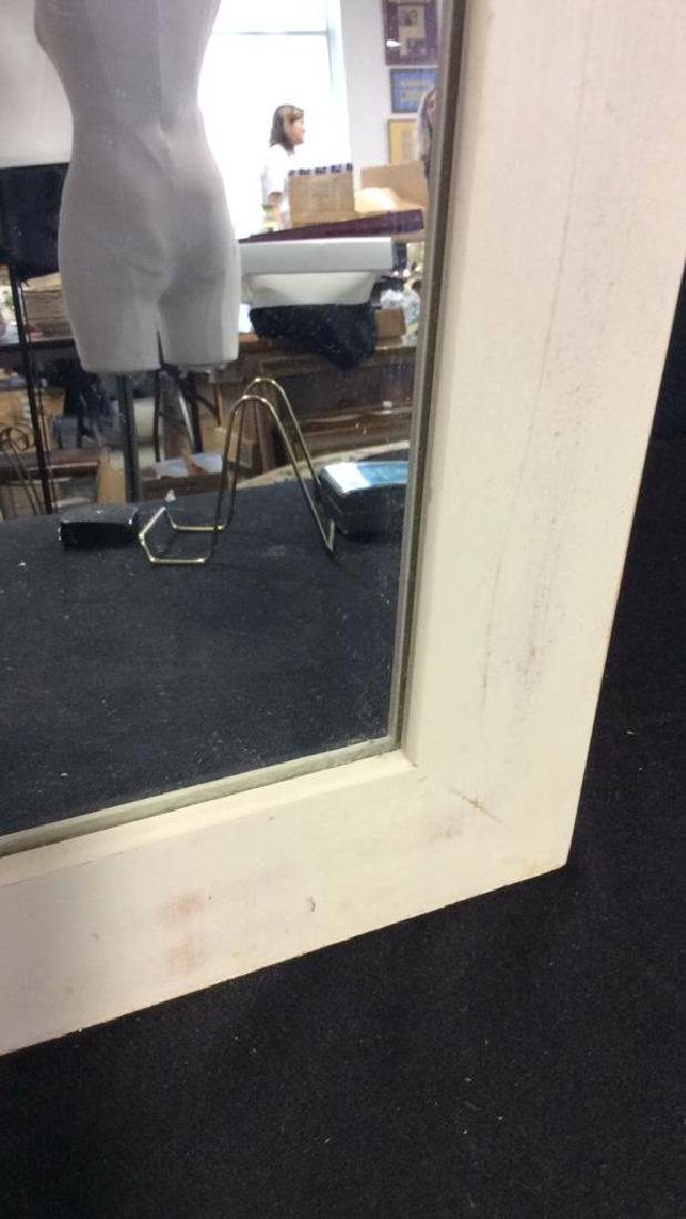 White Toned Painted Wood Frame Mirror - 6