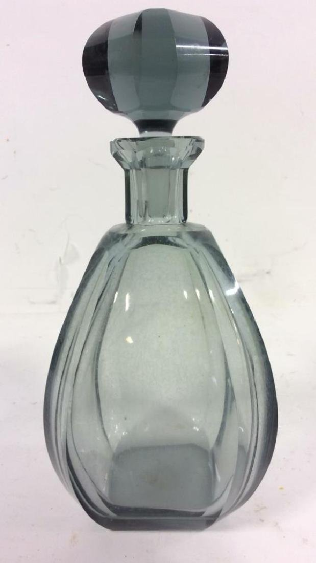Grey Toned  Faceted Crystal Decanter