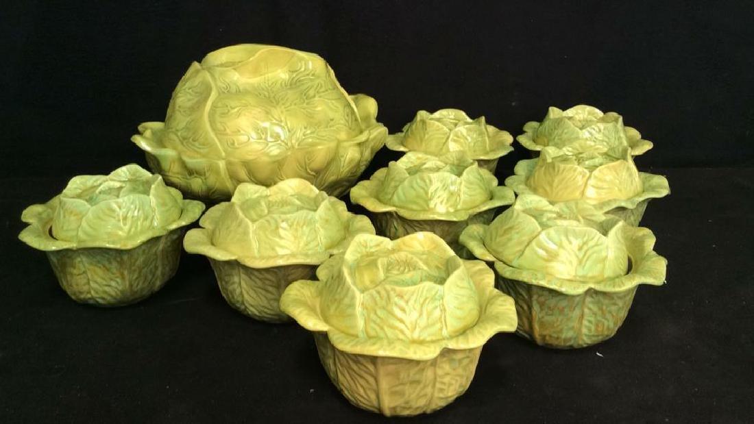 Set 9 Signed Holland Mold Cabbage Figural Dish Set