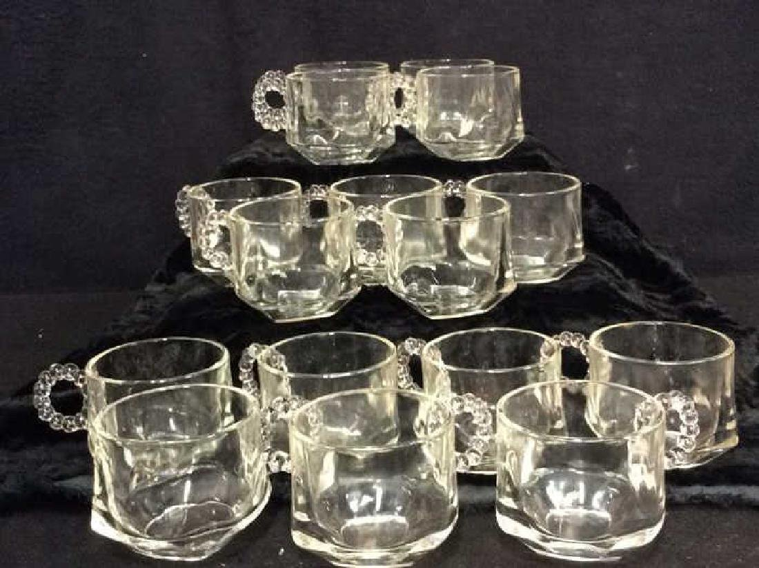 Set 16 Pressed Glass Handled Punch Cups