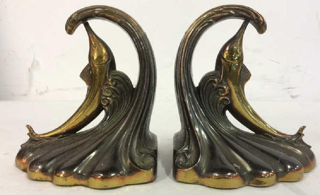 Pair Gold Toned Brass Marlin Bookends Art Deco