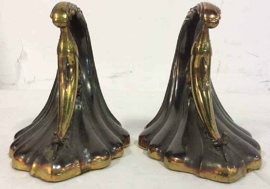 Pair Gold Toned Brass Marlin Bookends Art Deco - 2