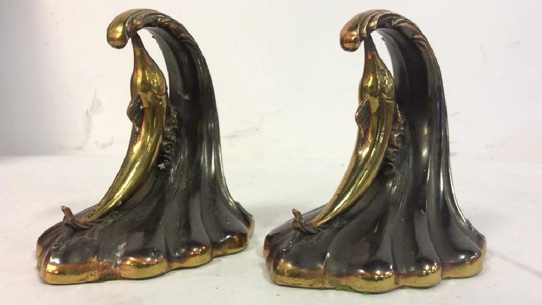 Pair Gold Toned Brass Marlin Bookends Art Deco - 3